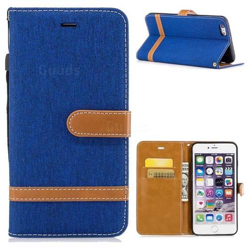 Jeans Cowboy Denim Leather Wallet Case for iPhone 6s Plus / 6 Plus 6P(5.5 inch) - Sapphire