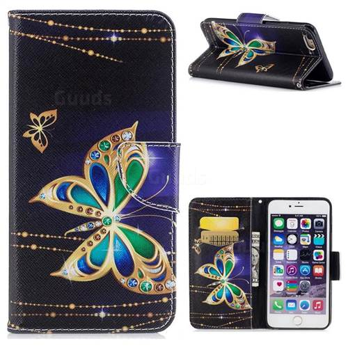 Golden Shining Butterfly Leather Wallet Case for iPhone 6s Plus / 6 Plus 6P(5.5 inch)