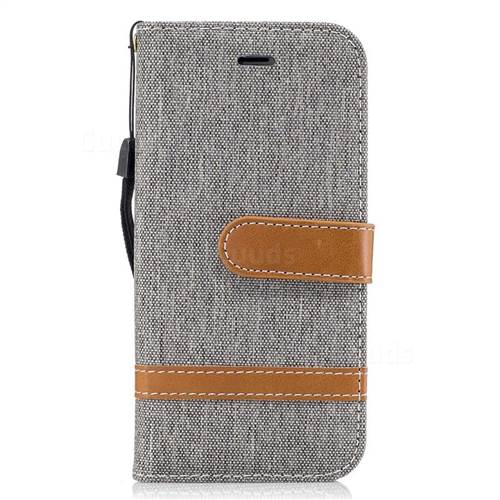 Jeans Cowboy Denim Leather Wallet Case for iPhone 7 7G(4.7 inch) - Gray