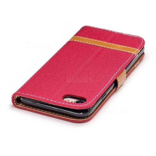 Jeans Cowboy Denim Leather Wallet Case for iPhone 7 7G(4.7 inch) - Red