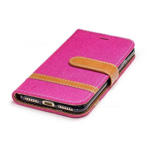 Jeans Cowboy Denim Leather Wallet Case for iPhone 7 7G(4.7 inch) - Rose