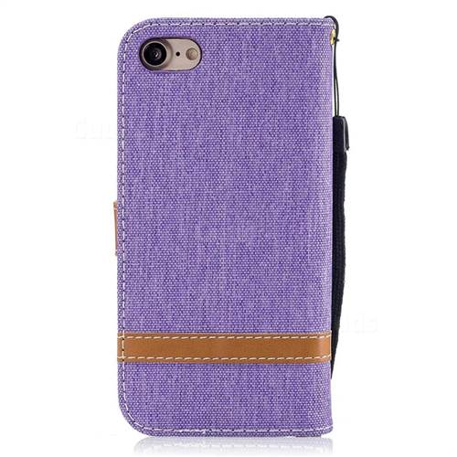 Jeans Cowboy Denim Leather Wallet Case for iPhone 7 7G(4.7 inch) - Purple