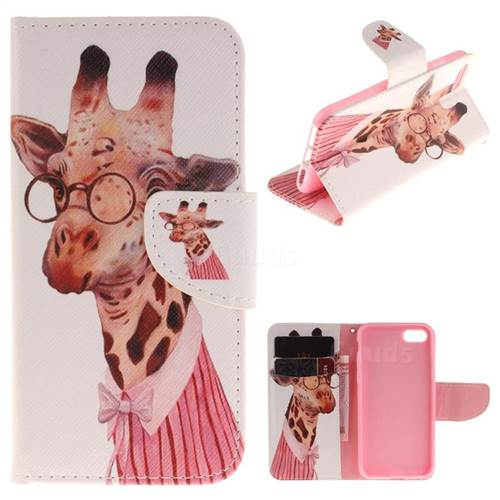 Pink Giraffe PU Leather Wallet Case for iPhone 7 7G(4.7 inch)