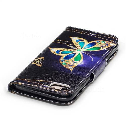 Golden Shining Butterfly Leather Wallet Case for iPhone 7 7G(4.7 inch)