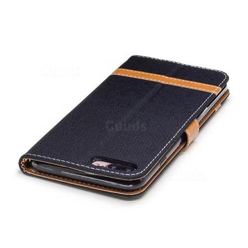 Jeans Cowboy Denim Leather Wallet Case for iPhone 7 Plus 7P(5.5 inch) - Black