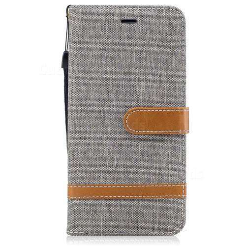 Jeans Cowboy Denim Leather Wallet Case for iPhone 7 Plus 7P(5.5 inch) - Gray
