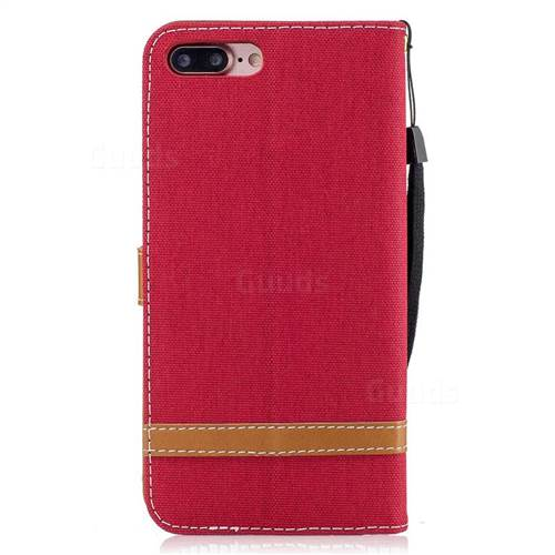 Jeans Cowboy Denim Leather Wallet Case for iPhone 7 Plus 7P(5.5 inch) - Red