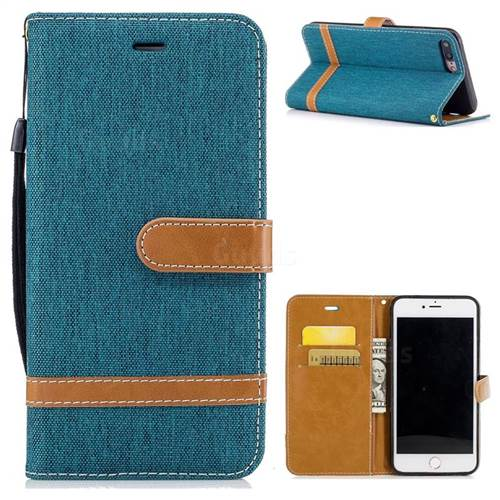 Jeans Cowboy Denim Leather Wallet Case for iPhone 7 Plus 7P(5.5 inch) - Green