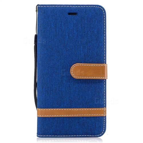 Jeans Cowboy Denim Leather Wallet Case for iPhone 7 Plus 7P(5.5 inch) - Sapphire