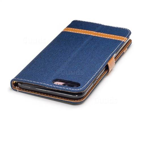 Jeans Cowboy Denim Leather Wallet Case for iPhone 7 Plus 7P(5.5 inch) - Dark Blue