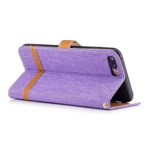 Jeans Cowboy Denim Leather Wallet Case for iPhone 7 Plus 7P(5.5 inch) - Purple