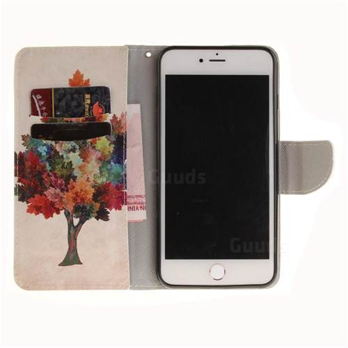 Colored Tree PU Leather Wallet Case for iPhone 7 Plus 7P(5.5 inch)