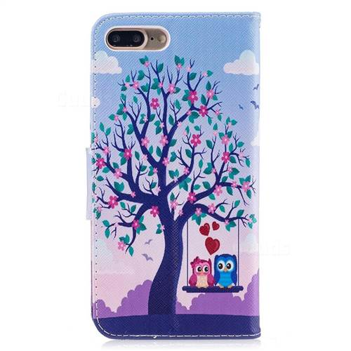 Tree and Owls Leather Wallet Case for iPhone 7 Plus 7P(5.5 inch)