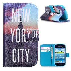 New York City Leather Wallet Case for Samsung Galaxy S3 Mini i8190