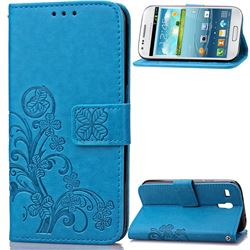 Embossing Imprint Four-Leaf Clover Leather Wallet Case for Samsung Galaxy S3 Mini i8190 - Blue