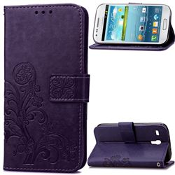 Embossing Imprint Four-Leaf Clover Leather Wallet Case for Samsung Galaxy S3 Mini i8190 - Purple