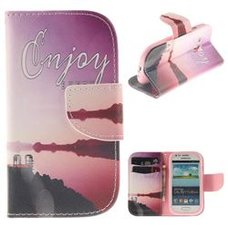 Seaside Scenery PU Leather Wallet Case for Samsung Galaxy S3 Mini i8190