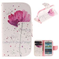 Purple Orchid PU Leather Wallet Case for Samsung Galaxy S3 Mini i8190