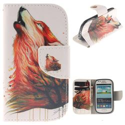 Color Wolf PU Leather Wallet Case for Samsung Galaxy S3 Mini i8190