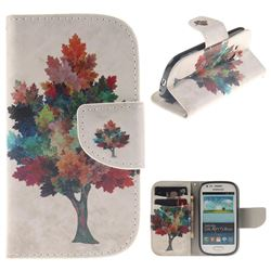 Colored Tree PU Leather Wallet Case for Samsung Galaxy S3 Mini i8190