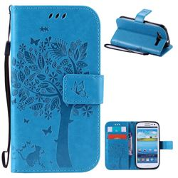 Embossing Butterfly Tree Leather Wallet Case for Samsung Galaxy S3 - Blue