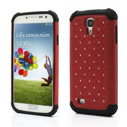 Rhinestone Stars Silicone and Plastic Hybrid Hard Case for Samsung Galaxy S4 i9500 i9505 - Red