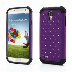 Rhinestone Stars Silicone and Plastic Hybrid Hard Case for Samsung Galaxy S4 i9500 i9505 - Purple