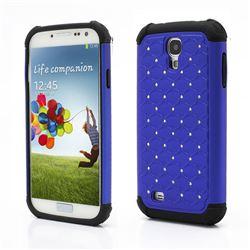 Rhinestone Stars Silicone and Plastic Hybrid Hard Case for Samsung Galaxy S4 i9500 i9505 - Blue