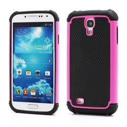 Premium Silicone and Plastic Hybrid Hard Case for Samsung Galaxy S4 i9500 i9505 - Black / Rose