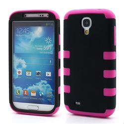 Dual Layer Plastic and Silicone Case for Samsung Galaxy S4 i9500 i9502 i9505 - Black / Rose