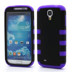 Dual Layer Plastic and Silicone Case for Samsung Galaxy S4 i9500 i9502 i9505 - Black / Purple
