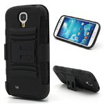 Swivel Belt Clip Silicone and Plastic Hybrid Case for Samsung Galaxy S4 i9500 i9502 i9505 with Stand - Black