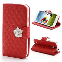 Rhombus Leather Case for Samsung Galaxy S4 IV i9500 i9505 with Diamond Flower Buckle - Red