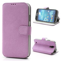 Soft Frosted Leather Case for Samsung Galaxy S 4 IV i9500 i9502 i9505 with Built-in Wallet and Stand - Purple