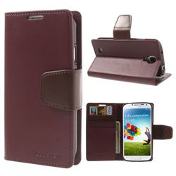 Mercury Sonata Diary Series Glossy Leather Flip Cover for Samsung Galaxy S4 i9500 i9502 i9505 i9508 - Brown