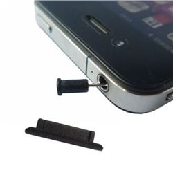 2 in 1 Anti Dust Plug Stopper Set (Dock Stopper and Earphone Plug) for iPhone 4 - Black