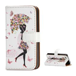 Flower Umbrella Girl Leather Wallet Case for iPhone 4S / iPhone 4