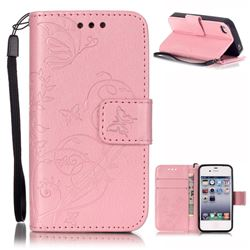 Embossing Butterfly Flower Leather Wallet Case for iPhone 4s / iPhone 4 - Pink