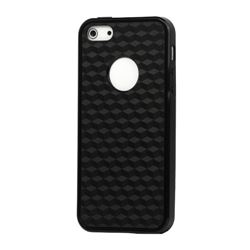 TPU Case Cover for iPhone 5s / iPhone 5 with 3D Cube Square Design - Black