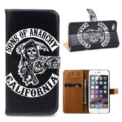 Black Skull Leather Wallet Case for iPhone 5s / iPhone 5