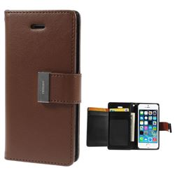 Mercury Rich Diary Leather Flip Cover for iPhone 5s / iPhone 5 - Brown