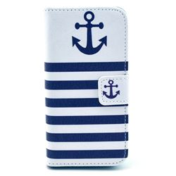 Navy Anchor Leather Flip Wallet Case Cover for iPhone 5s / iPhone 5