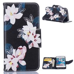 Black Lily Leather Wallet Case for iPhone 5s / iPhone 5 / iPhone SE