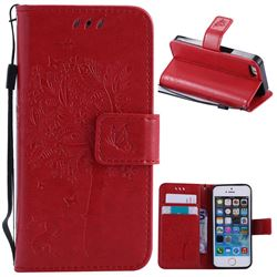 Embossing Butterfly Tree Leather Wallet Case for iPhone SE 5s 5 - Red