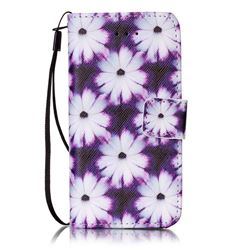 Purple Chrysanthemums Leather Wallet Case for iPhone SE 5s 5