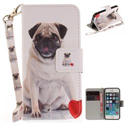 Pug Dog Hand Strap Leather Wallet Case for iPhone SE 5s 5