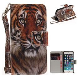 Siberian Tiger Hand Strap Leather Wallet Case for iPhone SE 5s 5