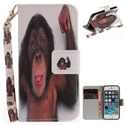 Cute Monkey Hand Strap Leather Wallet Case for iPhone SE 5s 5