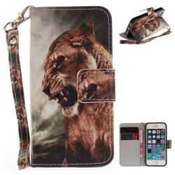 Majestic Lion Hand Strap Leather Wallet Case for iPhone SE 5s 5