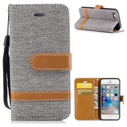 Jeans Cowboy Denim Leather Wallet Case for iPhone SE 5s 5 - Gray
